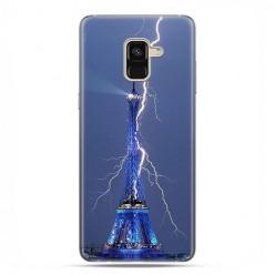 Samsung Galaxy A8 2018 - etui na telefon z grafiką - Wieża Eiffla z błyskawicą.