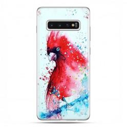 Samsung Galaxy S10 Plus - etui na telefon z grafiką - Czerwona papuga watercolor.