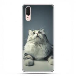 Huawei P20 - etui na telefon z grafiką - Ciekawski szary kot
