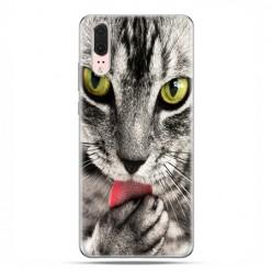 Huawei P20 - etui na telefon z grafiką - Kot liżący łapę