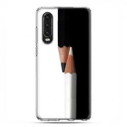 Huawei P30 - silikonowe etui na telefon - Biały i czarny ołówek