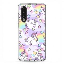 Huawei P30 - silikonowe etui na telefon - Zakochane jednorożce