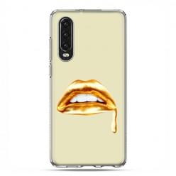 Huawei P30 - silikonowe etui na telefon - złoto usta