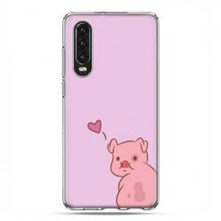 Huawei P30 - silikonowe etui na telefon - Zakochana świnka