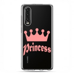 Huawei P30 - silikonowe etui na telefon - Princess z różową koroną