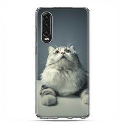 Huawei P30 - silikonowe etui na telefon - Ciekawski szary kot
