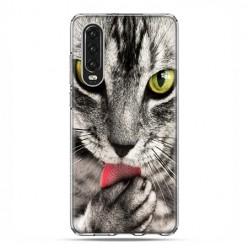 Huawei P30 - silikonowe etui na telefon - Kot liżący łapę