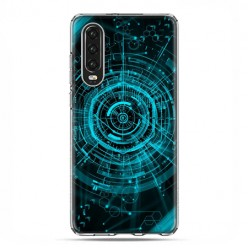 Huawei P30 - silikonowe etui na telefon - Futurystyczny schemat