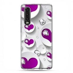 Huawei P30 - silikonowe etui na telefon - Serce i diament