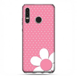 Huawei P30 Lite - silikonowe etui na telefon - Różowa stokrotka