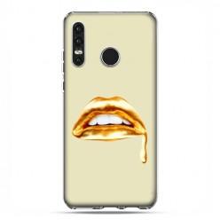 Huawei P30 Lite - silikonowe etui na telefon - złoto usta