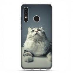 Huawei P30 Lite - etui na telefon - Ciekawski szary kot