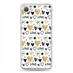 HTC Desire 12 - etui na telefon z grafiką - Serduszka Love.