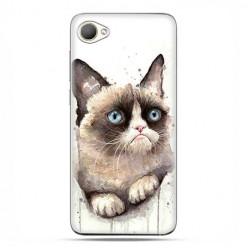 HTC Desire 12 - etui na telefon z grafiką - Kot zrzęda watercolor.