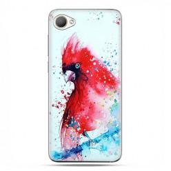 HTC Desire 12 - etui na telefon z grafiką - Czerwona papuga watercolor.