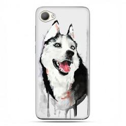 HTC Desire 12 - etui na telefon z grafiką - Pies Husky watercolor.