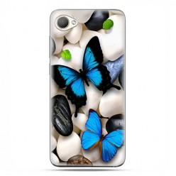 HTC Desire 12 - etui na telefon z grafiką - Niebieskie motyle.