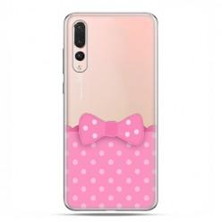 Huawei P20 Pro - silikonowe etui na telefon - Polka dot różowa kokardka
