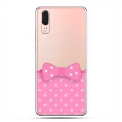 Huawei P20 - etui na telefon z grafiką - Polka dot różowa kokardka