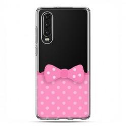 Huawei P30 - silikonowe etui na telefon - Polka dot różowa kokardka