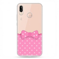 Huawei P20 Lite - etui nakładka na telefon Polka dot różowa kokardka