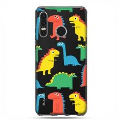 Huawei P30 Lite - silikonowe etui na telefon - Kolorowe dinozaury