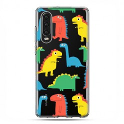 Huawei P30 - silikonowe etui na telefon - Kolorowe dinozaury
