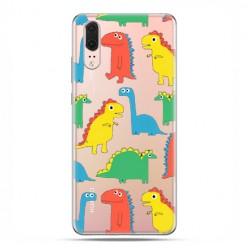 Huawei P20 - etui na telefon z grafiką - Kolorowe dinozaury