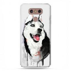 LG G6 - etui na telefon z grafiką - Pies Husky watercolor.