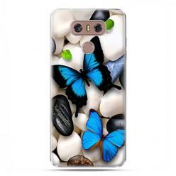 LG G6 - etui na telefon z grafiką - Niebieskie motyle.
