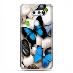 LG V30 - etui na telefon z grafiką - Niebieskie motyle.