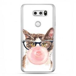 LG V30 - etui na telefon z grafiką - Kot z gumą balonową.