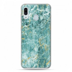 Samsung Galaxy A30 SM-A305 - etui na telefon z grafiką - Seledynowo złoty marmur