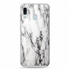 Samsung Galaxy A30 SM-A305 - etui na telefon z grafiką - Biało czarny marmur