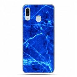 Samsung Galaxy A30 SM-A305 - etui na telefon z grafiką - Niebieski jaskrawy marmur