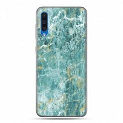 Samsung Galaxy A50 - etui na telefon z grafiką - Seledynowo złoty marmur
