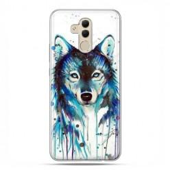 Etui na telefon Huawei Mate 20 Lite - niebieski wilk watercolor