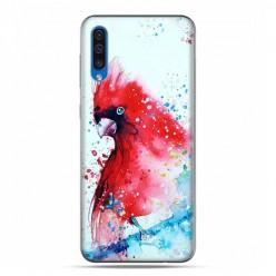 Etui na telefon Samsung Galaxy A50 - czerwona papuga watercolor.