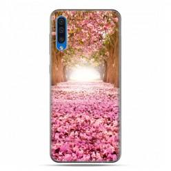 Etui na telefon Samsung Galaxy A50 - różowe liście w parku.