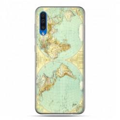 Etui na telefon Samsung Galaxy A50 - mapa świata.