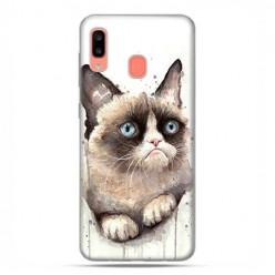 Samsung Galaxy A20E - etui na telefon wzory - Kot zrzęda watercolor.
