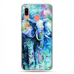 Samsung Galaxy A20E - etui na telefon wzory - Kolorowy słoń.