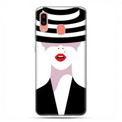 Samsung Galaxy A20E - etui na telefon wzory - Kobieta w kapeluszu.