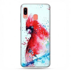 Samsung Galaxy A20E - etui na telefon wzory - Czerwona papuga watercolor.