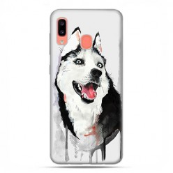 Samsung Galaxy A20E - etui na telefon wzory - Pies Husky watercolor.