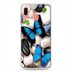 Samsung Galaxy A20E - etui na telefon wzory - Niebieskie motyle.