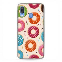Samsung Galaxy A40 - etui na telefon wzory - Kolorowe pączki.