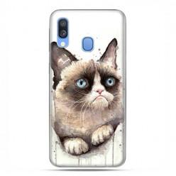Samsung Galaxy A40 - etui na telefon wzory - Kot zrzęda watercolor.