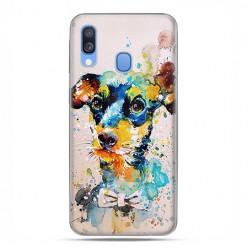 Samsung Galaxy A40 - etui na telefon wzory - Szczeniak watercolor.
