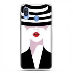 Samsung Galaxy A40 - etui na telefon wzory - Kobieta w kapeluszu.